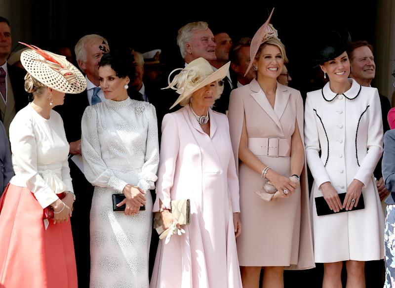 (left to right) Sophie Countess of Wessex, Queen Letizia of Spain, the Duchess of Cornwall, Queen Maxima of the Netherlands and the Duchess of Cambridge, as the watch the annual Order of the Garter Service at St George's Chapel, Windsor Castle.