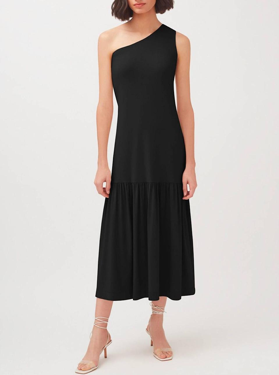 """This midi dress from <a href=""""https://www.glamour.com/story/sustainable-fashion-brands?mbid=synd_yahoo_rss"""" rel=""""nofollow noopener"""" target=""""_blank"""" data-ylk=""""slk:sustainable brand"""" class=""""link rapid-noclick-resp"""">sustainable brand</a> Cuyana gets points for its simple sophistication that can be dressed up or down and styled in million-and-one ways. And who doesn't love an <a href=""""https://www.glamour.com/gallery/mismatched-earring-trend?mbid=synd_yahoo_rss"""" rel=""""nofollow noopener"""" target=""""_blank"""" data-ylk=""""slk:asymmetrical"""" class=""""link rapid-noclick-resp"""">asymmetrical</a> detail? $135, Cuyana. <a href=""""https://www.cuyana.com/clothing/dresses/one-shoulder-dress/20021741.html"""" rel=""""nofollow noopener"""" target=""""_blank"""" data-ylk=""""slk:Get it now!"""" class=""""link rapid-noclick-resp"""">Get it now!</a>"""