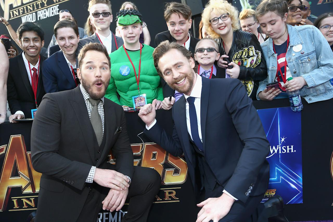 """<p>All the celebs stopped to talk to fans — and Star-Lord and Loki used the masses as a backdrop for a photo op. Hiddleston told Yahoo Entertainment that he expects the film will live up to the hype. """"I do have the sense that it's monumental — like spectacular — beacuse I think there are so many people who have created these characters with such care and attention over the years. … The drama and conflict and also humor that happens in the space between all these characters is what makes it unique."""" (Photo: Tommaso Boddi/Getty Images for Disney) </p>"""