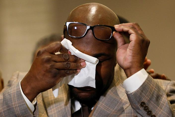 Philonise Floyd uses a napkin during a news conference following the verdict in the trial of former Minneapolis police officer Derek Chauvin, found guilty of the death of George Floyd, in Minneapolis, Minnesota, U.S., April 20, 2021. (Nicholas Pfosi/Reuters)