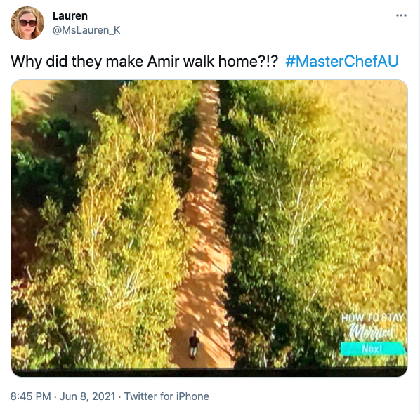 Fans joked that the MasterChef producers made Amir walk home to Melbourne from Daylesford. Photo: Twitter
