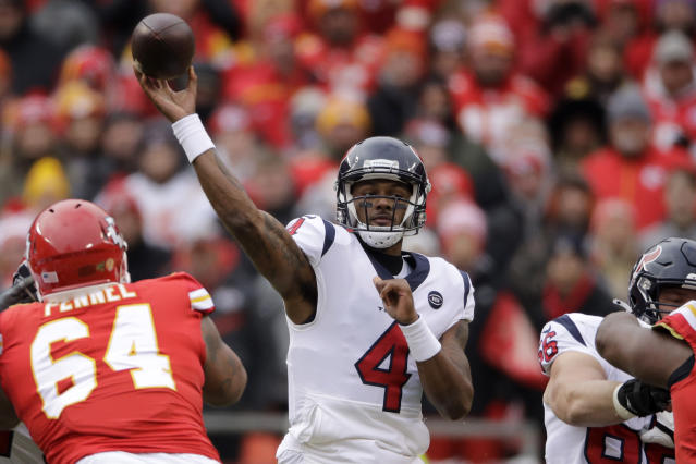 Houston Texans quarterback Deshaun Watson (4) throws a pass during the first half of an NFL divisional playoff football game against the Kansas City Chiefs, in Kansas City, Mo., Sunday, Jan. 12, 2020. (AP Photo/Charlie Riedel)
