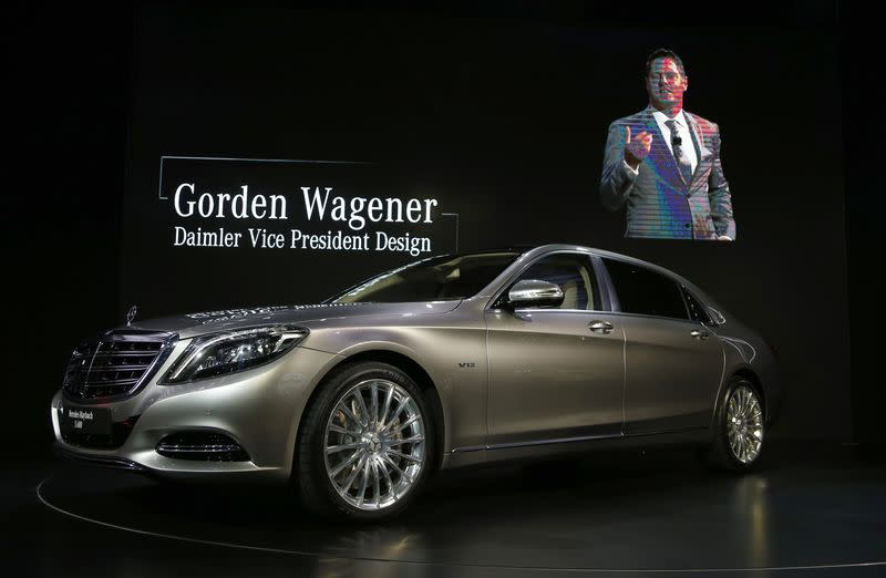 Wagener, Daimler vice president of design, is shown on screen speaking about the Mercedes-Maybach S-Class during the model's world debut at the Los Angeles Auto Show