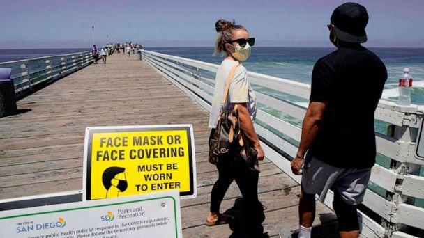 PHOTO: People walk out onto the Pacific Beach Pier in San Diego, California, on July 4, 2020, amid the coronavirus pandemic. (Sandy Huffaker/AFP via Getty Images)