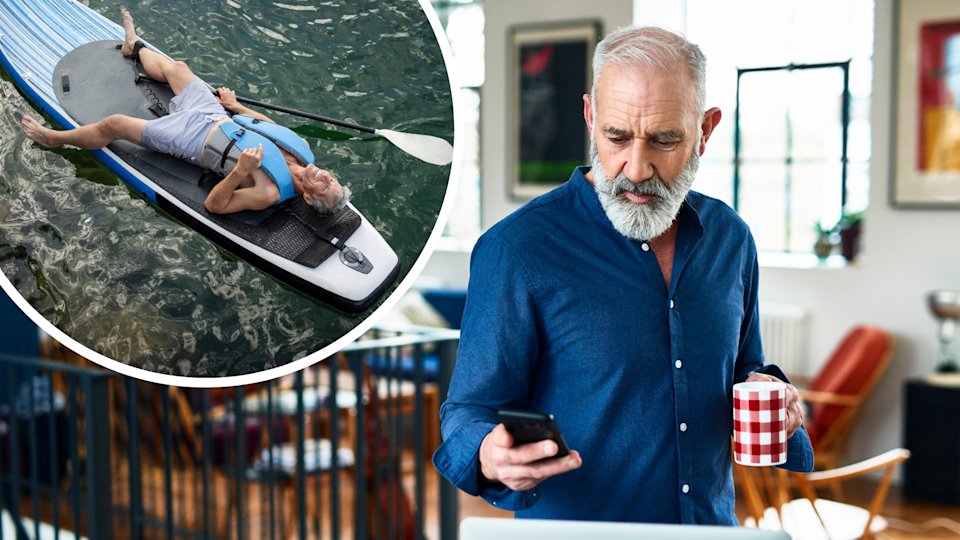 Pictured: Australian man close to retirement working from home, and Australian man on a kayak. Images: Getty