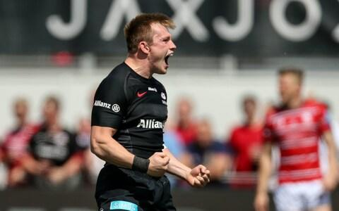 Nick Tompkins celebrates a try for Saracens against Gloucester in last season's Premiership semi-final - Credit: PA