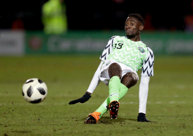 In this photo taken on Tuesday, March 27, 2018, Nigeria's Wilfred Ndidi goes for the ball during the international friendly soccer match between Serbia and Nigeria at The Hive Stadium in London. (AP Photo/Matt Dunham)