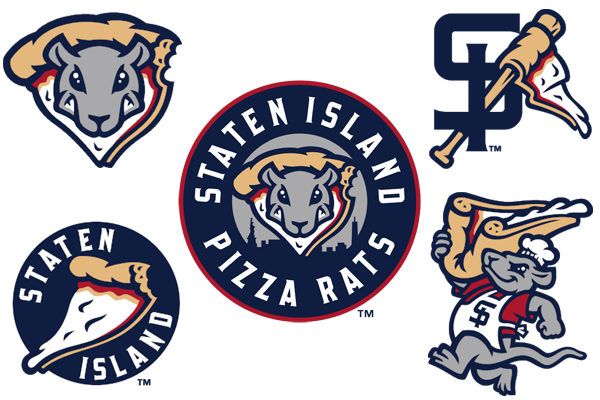 The Staten Island Yankees have chosen a number of pizza rat-centric logos for their temporary rebranding. (pizzaratsbaseball.com)