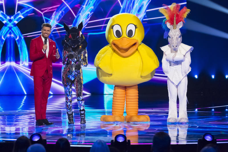 Duck and Unicorn were exposed as Skin and Jake Shears on 'The Masked Singer'. (Bandicoot TV/ITV)