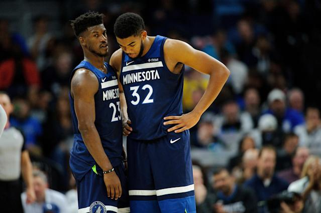 "Tension between <a class=""link rapid-noclick-resp"" href=""/nba/teams/min"" data-ylk=""slk:Timberwolves"">Timberwolves</a> teammates <a class=""link rapid-noclick-resp"" href=""/nba/players/4912/"" data-ylk=""slk:Jimmy Butler"">Jimmy Butler</a> (left) and <a class=""link rapid-noclick-resp"" href=""/nba/players/5432/"" data-ylk=""slk:Karl-Anthony Towns"">Karl-Anthony Towns</a> has long been reported. (Getty Images)"