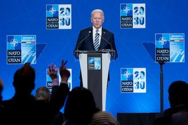 PHOTO: President Joe Biden takes questions during a news conference at the NATO summit at NATO headquarters in Brussels, June 14, 2021. (Patrick Semansky/AP)