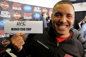 Pat Barry leaves Thursday's UFC 115 press conference in Vancouver with a souvenir