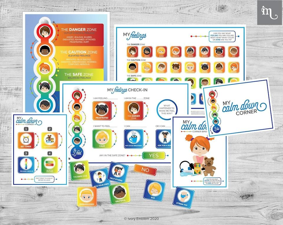 <p>The <span>Calm Down Corner Feelings Thermometer Poster Bundle</span> ($15) provides parents with PDF versions of a calm down corner guide, posters, and sheets that help kids work through their feelings.</p>