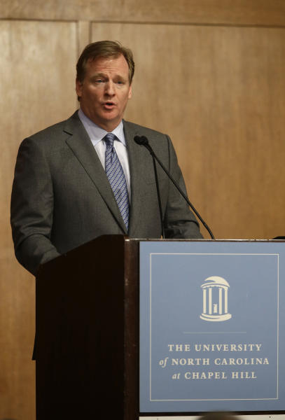 NFL Commissioner Roger Goodell delivers the Department of Exercise and Sport Science's annual Carl Blyth Lecture at the University of North Carolina at Chapel Hill, N.C., Wednesday, March 6, 2013. (AP Photo/Gerry Broome)