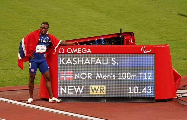 Norway's Salum Ageze Kashafali won the men's 100m T12 final in a new world record time