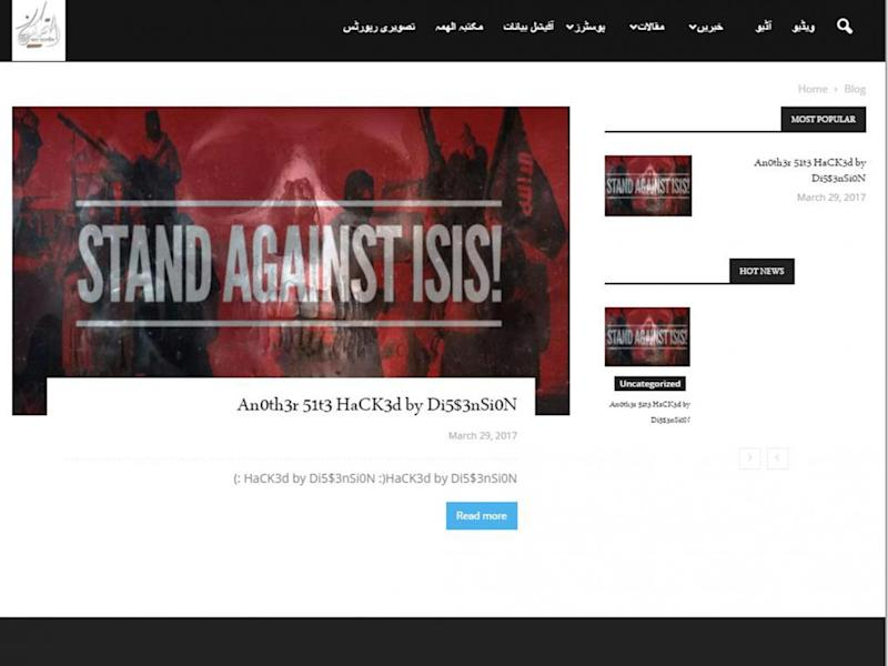Hackers have been leaving messages on websites carrying Isis propaganda