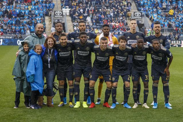 Philadelphia Union poses for the team photo prior to first half of an MLS soccer Eastern Conference first-round playoff match against the New York Red Bulls, Sunday, Oct. 20, 2019, in Chester, Pa. The Union won 4-3 in extra time. (AP Photo/Chris Szagola)