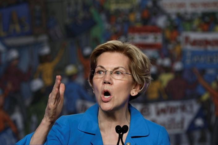 Warren speaks at the North America's Building Trades Unions conference in Washington, D.C., earlier this month. (Yuri Gripas/Reuters)