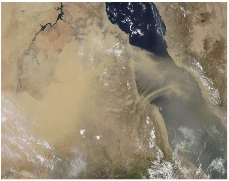 Satellite image of Sudan with large dust clouds