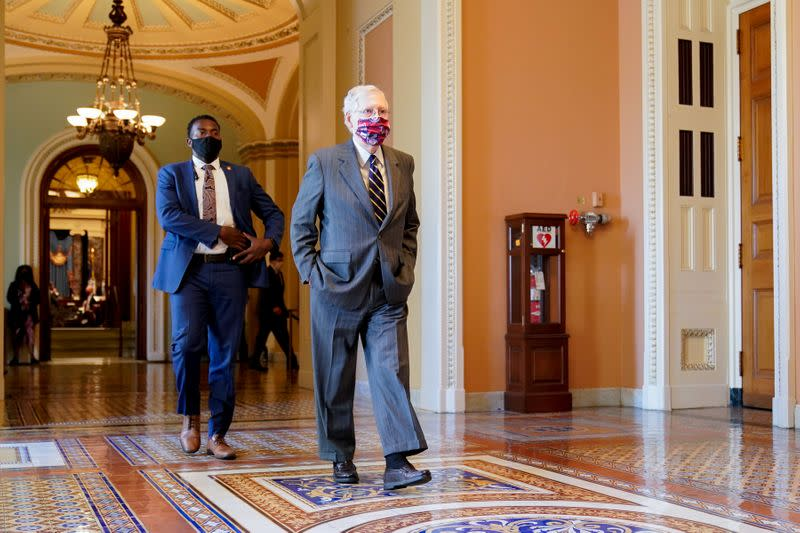 Senate Majority Leader McConnell walks to his office in the U.S. Capitol in Washington