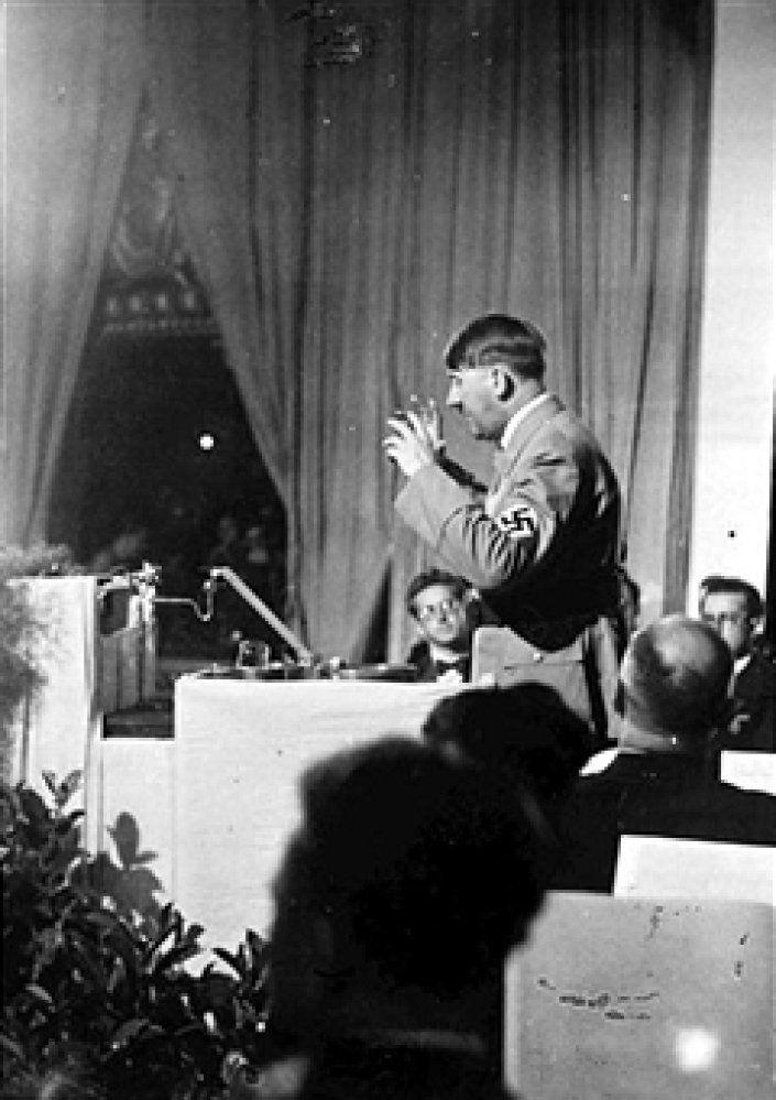 6th September 1934, German Chancellor and Nazi leader Adolf Hitler addresses the Nuremberg Nazi congress (Photo by Popperfoto/Getty Images)