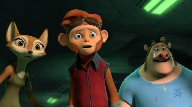 Jessica Biel, Jace Norman, and Rob deLeeuw in 'Spark: A Space Tail' (Photo: Open Road Films)