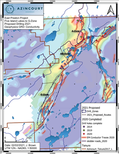 Figure 2: 2021 Drill Target areas at the East Preston Uranium Project
