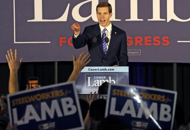 Conor Lamb, the Democratic candidate for the March 13 special election in Pennsylvania's 18th Congressional District, celebrates with his supporters at his election night party in Canonsburg, Pa., early Wednesday, March 14, 2018. (Photo: Gene J. Puskar/AP)