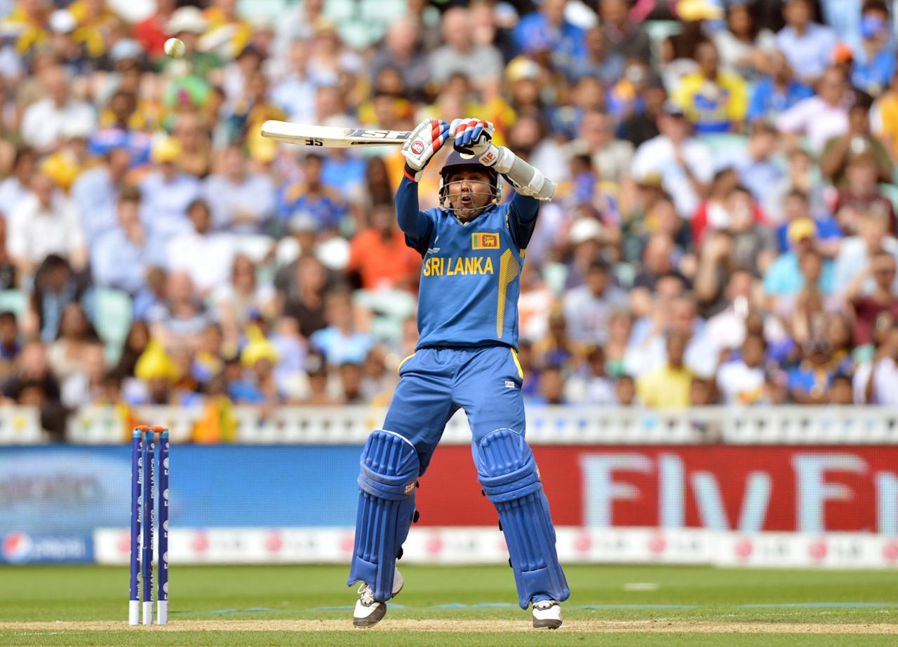 Sri Lanka's Mahela Jayawardene hits his 50th run during the ICC Champions Trophy match at The Oval, London.