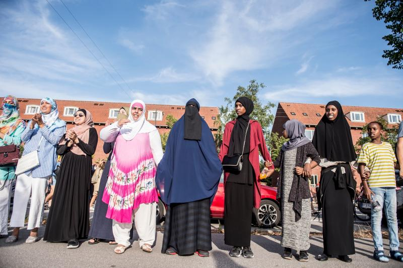 Veiled women take part in a demonstration against the veil ban on Aug. 1, 2018, the first day of the implementation of the Danish face veil ban, in Copenhagen, Denmark. (MADS CLAUS RASMUSSEN via Getty Images)
