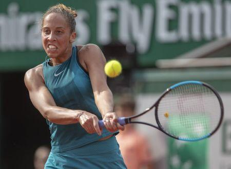 Jun 7, 2018, Paris, France: Madison Keys (USA) in action during her match against Sloane Stephens (USA) on day 12 of the 2018 French Open at Roland Garros. Susan Mullane-USA TODAY Sports