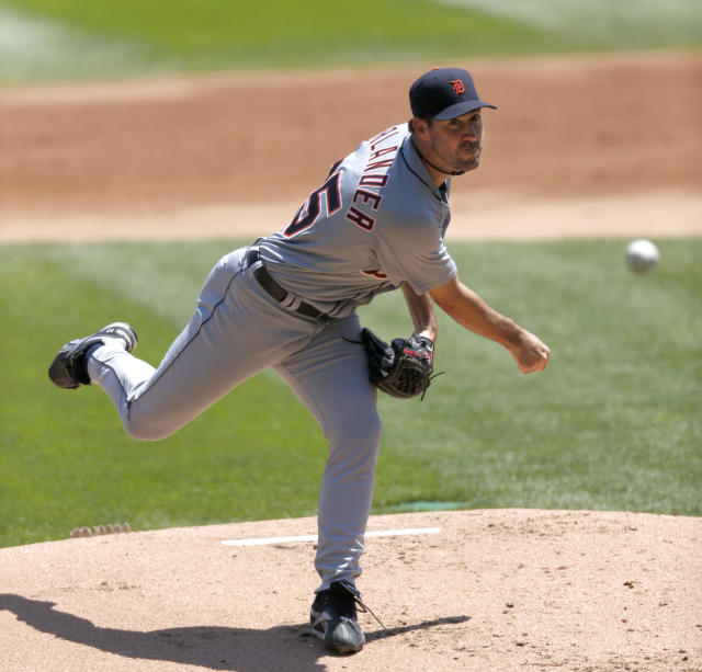 Detroit Tigers starting pitcher Justin Verlander delivers during the first inning of a baseball game against the Chicago White Sox Thursday, July 25, 2013, in Chicago. (AP Photo/Charles Rex Arbogast)