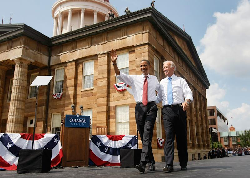 Sen. Barack Obama (D-Ill.) takes the stage with Biden, his vice-presidential pick, on Aug. 23, 2008, in Springfield, Illinois.