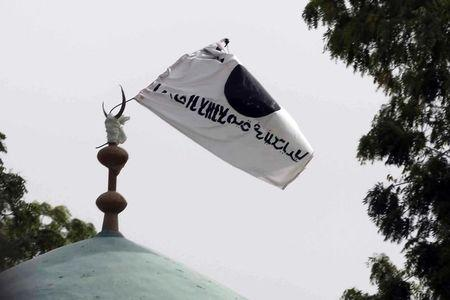 A flag belonging to Boko Haram flies from a atop a mosque in the recently retaken town of Damasak