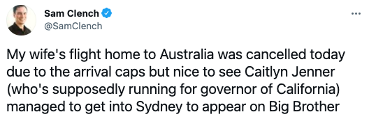 A tweet by Sam Clench about Caitlyn Jenner arriving in Sydney for Celebrity Big Brother. Photo: Twitter.