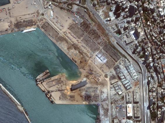 A satellite image shows the port of Beirut after the explosion (Maxar Technologies/via Reuters)