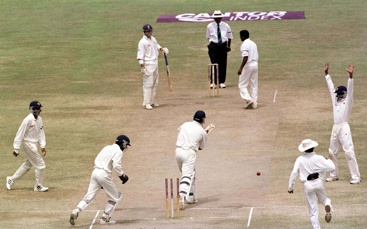 26 Feb 2001:  Darren Gough of England is bowled out by Muttiah Muralitharan of Sri Lanka during the fifth and final day of the first test between Sri Lanka and England at the Galle International Cricket Stadium, Galle, Sri Lanka. Mandatory Credit: Stu Forster/ALLSPORT