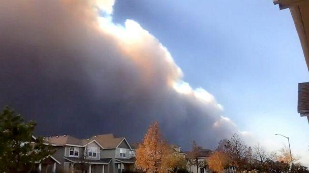 PHOTO: Smoke plume from the Cameron Peak Fire seen over Larimer County, Colorado, Oct. 14, 2020, in this still image from time-lapse video obtained via social media. (Jared Allen via Reuters)