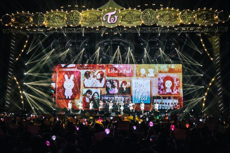 TWICE's fans in Singapore (called ONCEs) played a video tribute to the group. (Photo: ONE Production)