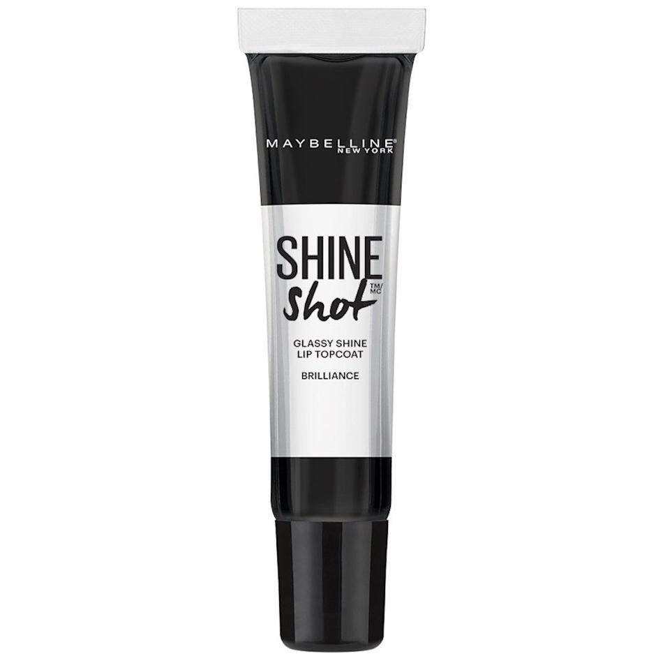 """$6.98, Maybelline Shine Shot Glassy Shine Lip Topcoat in Clear. <a href=""""https://shop-links.co/1672922669537631331"""">Get it now!</a>"""