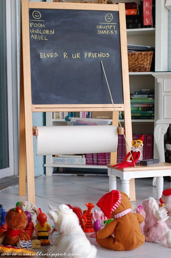 """<p>Enlist the help of the other stuffed animals to help with this funny Elf on the Shelf idea.</p><p><strong>Get the tutorial at <a href=""""http://asmallsnippet.com/2012/12/more-of-eli.html"""" rel=""""nofollow noopener"""" target=""""_blank"""" data-ylk=""""slk:A Small Snippet"""" class=""""link rapid-noclick-resp"""">A Small Snippet</a>.</strong></p><p><a class=""""link rapid-noclick-resp"""" href=""""https://www.amazon.com/s?url=search-alias%3Doffice-products&field-keywords=chalkboard&tag=syn-yahoo-20&ascsubtag=%5Bartid%7C10050.g.22690552%5Bsrc%7Cyahoo-us"""" rel=""""nofollow noopener"""" target=""""_blank"""" data-ylk=""""slk:SHOP CHALKBOARDS"""">SHOP CHALKBOARDS</a></p>"""