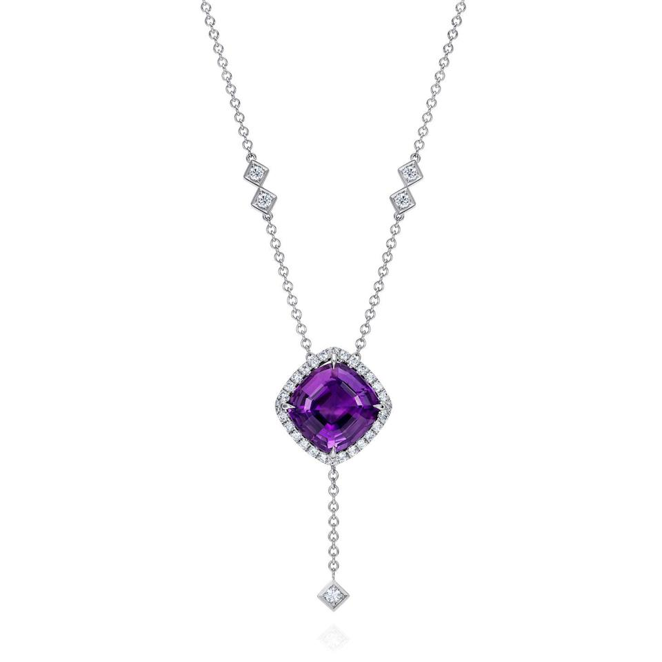 """<p><a class=""""link rapid-noclick-resp"""" href=""""https://www.thelmawest.com/"""" rel=""""nofollow noopener"""" target=""""_blank"""" data-ylk=""""slk:SHOP NOW"""">SHOP NOW</a></p><p>Forget purple rain. Thelma West's dramatic Purple Hail necklace contains dazzling white diamonds and show-stopping 10 carat Zambian amethyst. </p><p>White gold, amethyst and diamond necklace, price on request, <a href=""""https://www.thelmawest.com/"""" rel=""""nofollow noopener"""" target=""""_blank"""" data-ylk=""""slk:Thelma West"""" class=""""link rapid-noclick-resp"""">Thelma West</a>.</p>"""