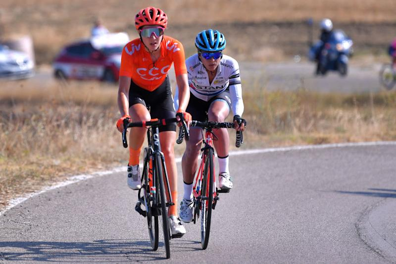 MOTTAMONTECORVINO ITALY SEPTEMBER 19 Sabrina Stultiens of The Netherlands and Team CCC Liv Arlenis Sierra Canadilla of Cuba and Astana Womens Team during the 31st Giro dItalia Internazionale Femminile 2020 Stage 9 a 1099km stage from Motta Montecorvino to Motta Montecorvino 645m GiroRosaIccrea GiroRosa on September 19 2020 in Motta Montecorvino Italy Photo by Luc ClaessenGetty Images