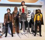<p><em>Solo</em>'s core four team of Han Solo, Chewbacck, Qi'ra, and Lando strikes heroic poses while an Imperial trooper looks on. (Photo: Hasbro) </p>