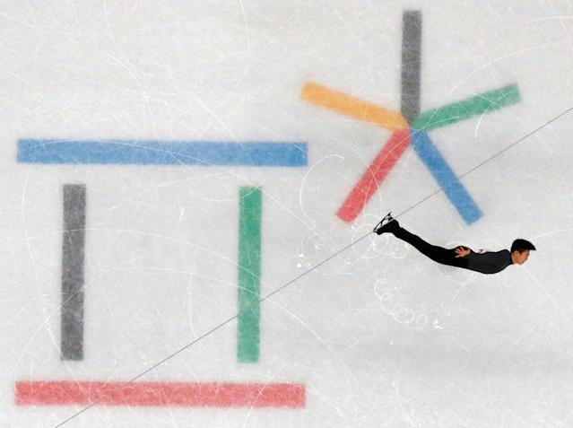 """Figure Skating - Pyeongchang 2018 Winter Olympics - Men Single Skating short program competition - Gangneung Ice Arena - Gangneung, South Korea - February 16, 2018 - Nathan Chen of the U.S. performs. REUTERS/Damir Sagolj SEARCH """"OLYMPICS BEST"""" FOR ALL PICTURES. TPX IMAGES OF THE DAY."""