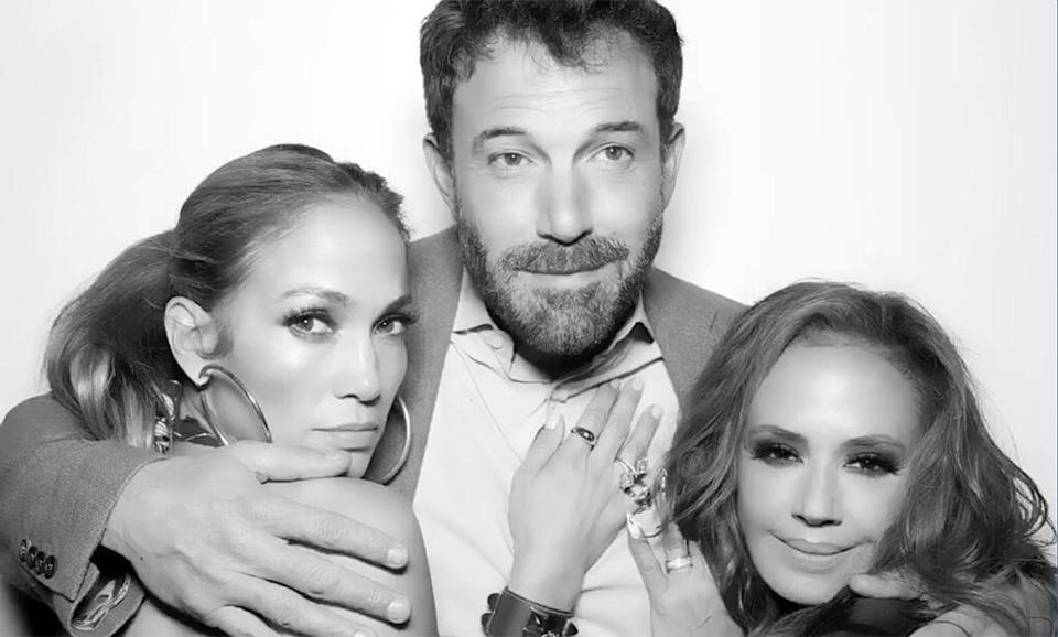 Jennifer Lopez and Ben Affleck pose with Leah Remini at her birthday party (Credit: Instagram).