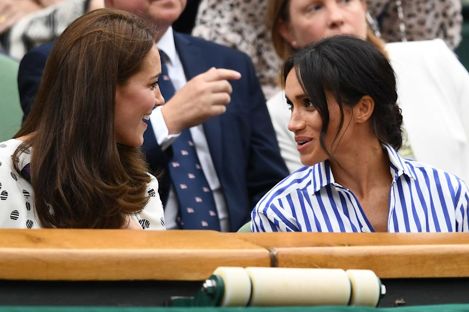 Meghan Markle enjoys at day at Wimbledon with sister-in-law Kate Middleton in 2018. It was the first time Markle had enjoyed the tournament from the royal box. <em>[Photo: Getty Images]</em>