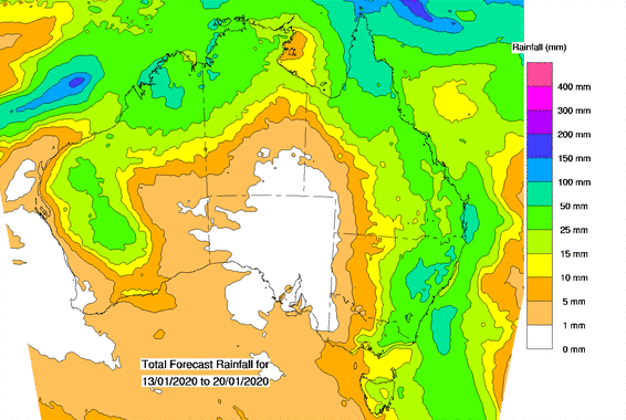 A weather map from the Bureau of Meteorology shows areas expecting rain this week.