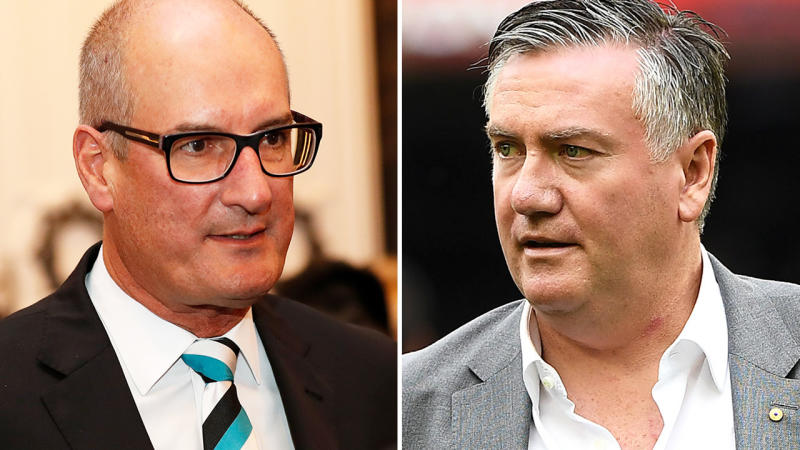 David Koch and Eddie McGuire, pictured here during AFL functions in 2019.