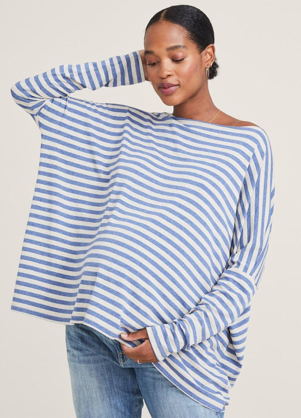 """$98, Hatch. <a href=""""https://www.hatchcollection.com/collections/new-arrivals/products/the-longsleeve-maternity-tee?variant=32966392610925?color=stream-oatmeal"""" rel=""""nofollow noopener"""" target=""""_blank"""" data-ylk=""""slk:Get it now!"""" class=""""link rapid-noclick-resp"""">Get it now!</a>"""